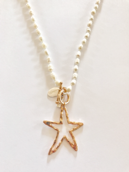 Copper Star Fresh Water Pearl Pendant